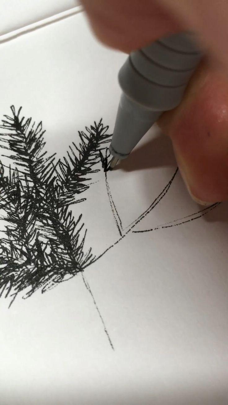 How to draw a Christmas tree wby Julia Karl #art #drawing #ink #illustration #diy #artsandcrafts #draw #sketch #sketchbook #drawingtutorial #drawyourself