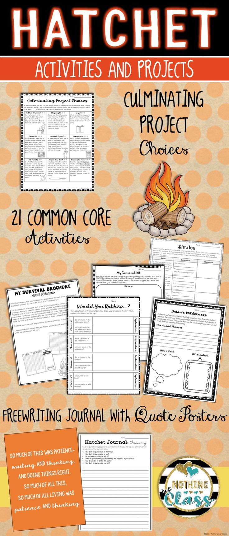 This activity packet for Hatchet, by Gary Paulsen, contains 48 pages of creative, Common Core aligned resources.  Focus standards include character analysis, theme, figurative language, setting analysis, writing, and more. All Common Core activities have the Common Core code listed in the bottom corner, keeping both you and your students focused.   Perfect for whole classes, small groups, or even individuals, this toolbox is brimming full of creative ways for students to practice and then…