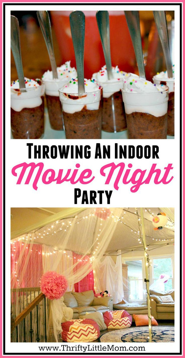 Throwing an indoor movie night party.  Indoor movie parties are great birthday party ideas for tweens and birthday party ideas for teens.  This post gives you thrifty tips for throwing a gorgeous and fun indoor movie party while not spending tons of cash!  Includes decor, food, good bag ideas and much more.