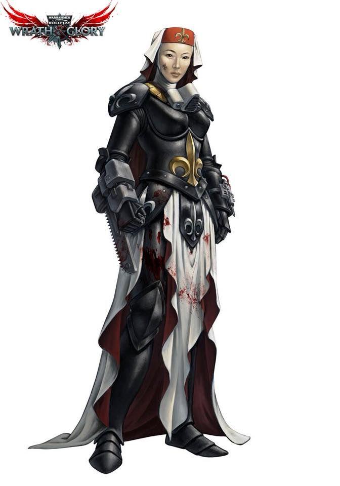 wrath glory warhammer 40k rpg sister hospitaller by alberto