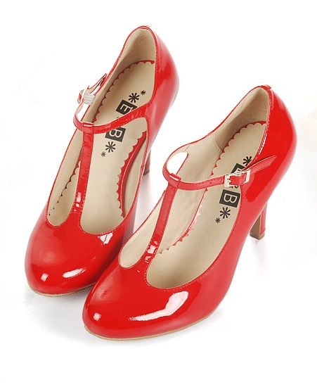 Retro Red T-bar Round Toe Leather Heeled Shoes ♥ another shoe I could not live without ♥