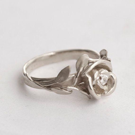 3) Rose Engagement Ring No.1 - 14K Gold White and Diamond engagement ring, engagement, leaf ring, flower ring, antique, art nouveau, vintage