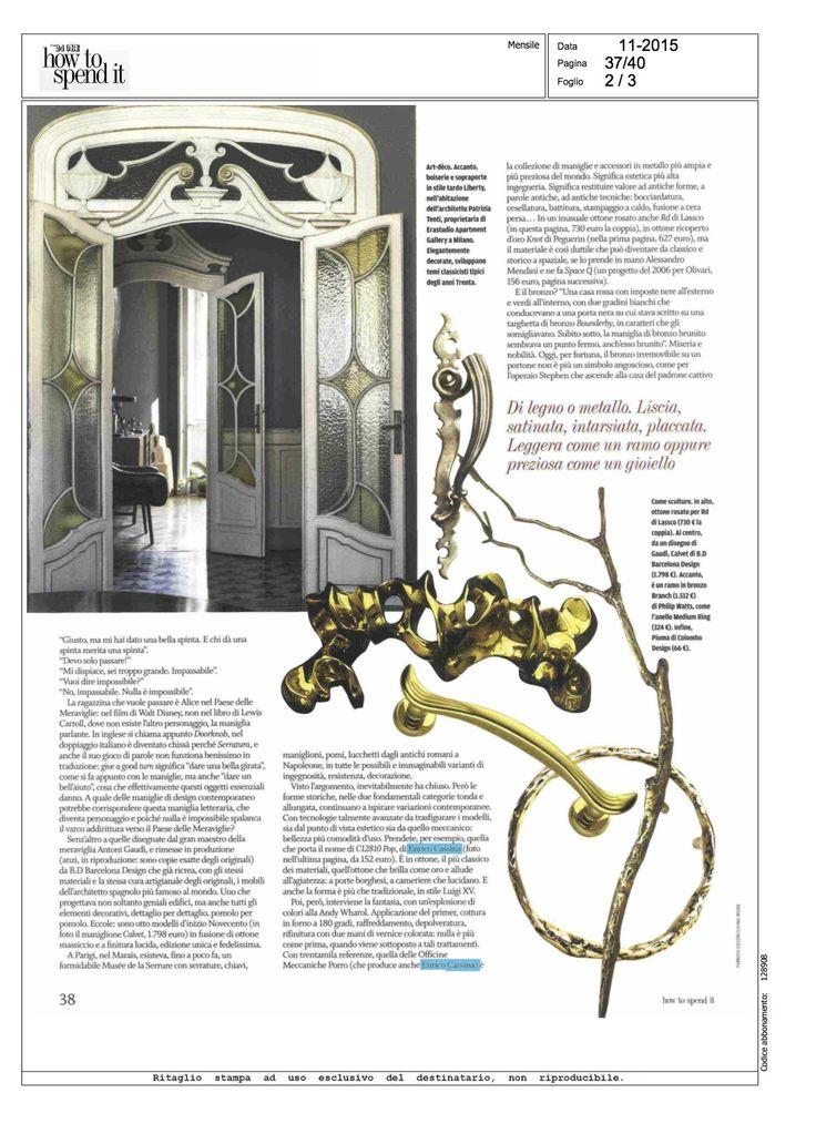 @IlSole24Ore #HowToSpendIt magazine, number of November: #door #handles #EnricoCassina