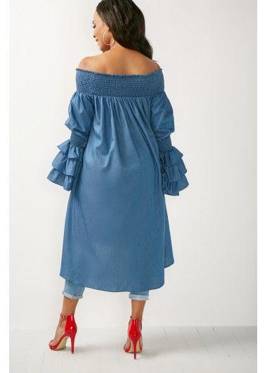 Flare Sleeve Bardot Blue Long Blouse on sale only US$38.21 now, buy cheap Flare Sleeve Bardot Blue Long Blouse at liligal.com