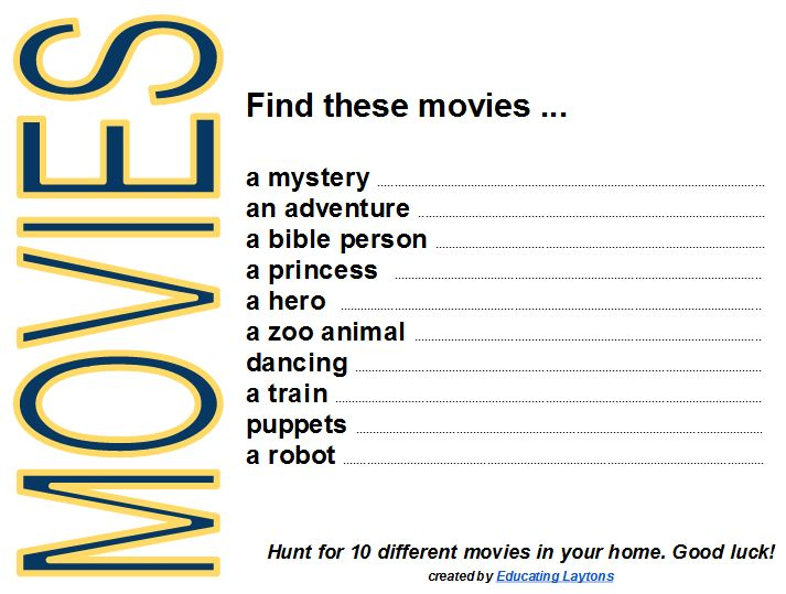 Movies Scavenger Hunt