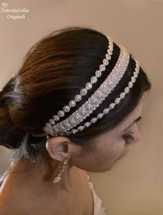 Bridal Rhinestone Headband Bling Sparkle por SrtaSubiaOriginals, $55.00