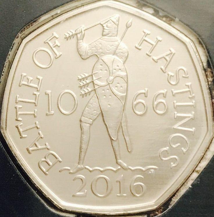 2016 50P moneda batalla de Hastings Raro cincuenta peniques brillantemente Uncirculated