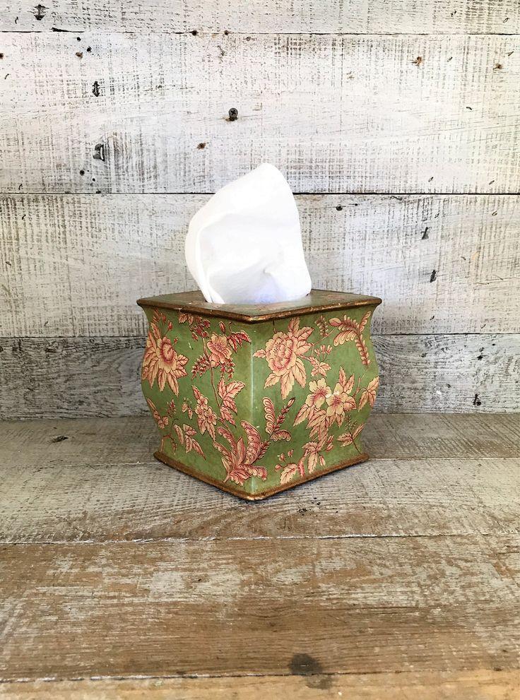 Tissue Box Cover Ceramic Tissue Box Holder Floral Tissue Box Cover Asian Tissue Box Holder Floral Bathroom Decor Cottage Chic by TheDustyOldShack on Etsy