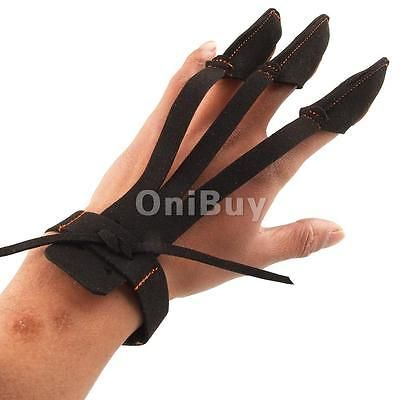 TRADITIONAL ARCHERY GLOVE BOW SHOOTING HUNTING 3 FINGERS HAND PROTECTOR GLOVES
