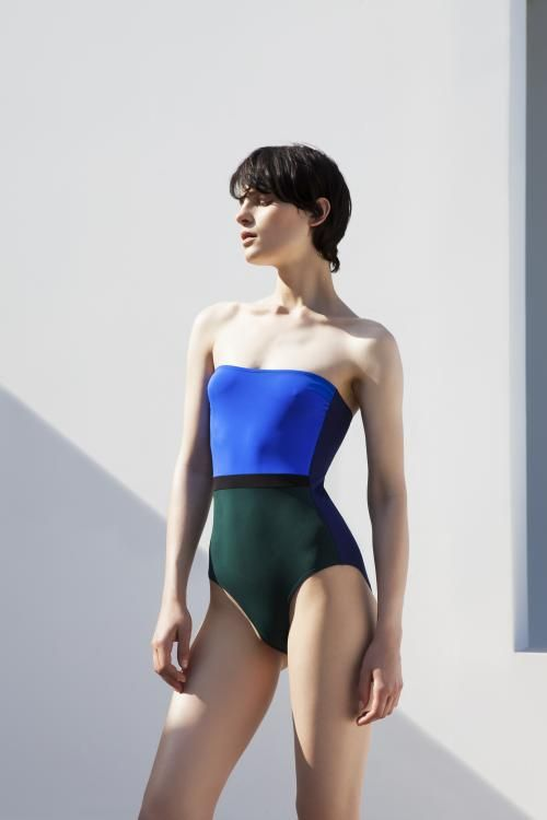 Zeus+Dione | OLYMPIC Resort 2016 CHRISI One piece strapless colorblock swimsuit
