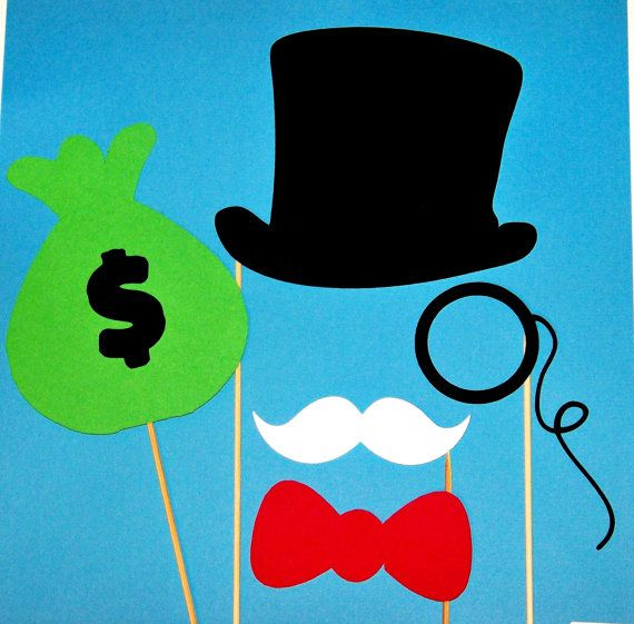 Monopoly Man Game Photobooth Props 5 pc Top Hat, Mustache, Monocle, Bow Tie and Money Bag Photo Booth Props for Your Party or Wedding Photos...