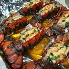 My favorite lobster tail recipe! Literally takes 10-15 minutes! Butter, Olive oil, fresh lemon juice, white pepper, paprika, garlic salt, sea salt and a little bit of old bay seasoning. Mix everything together and brush on top of the lobster tails. Broil for 5 minutes and then brush it with melted butter and chives mixture. Put it back in the broiler for 10 minutes and serve. #seafoodrecipes