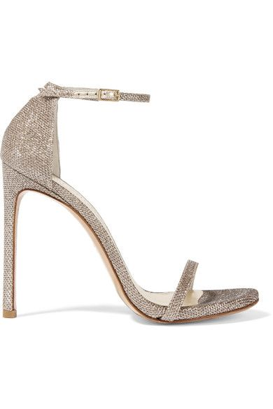 Heel measures approximately 120mm/ 5 inches  Champagne mesh  Buckle-fastening ankle strap
