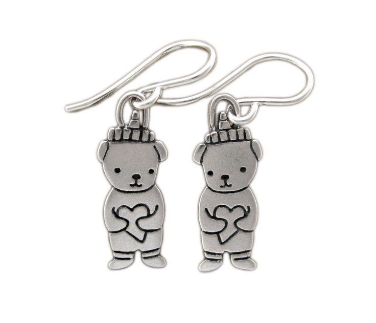 Sterling Silver Bear Fetish Dangle Earrings