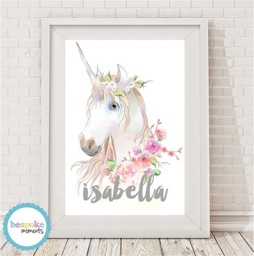 Watercolour Unicorn Name Print by Bespoke Moments. Worldwide Shipping Available.