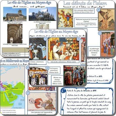 L'Eglise au Moyen Age, les débuts de l'Islam, conflits et échanges en Méditerranée : séquences, fiches élèves et traces écrites