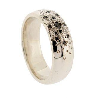 White gold and black diamond stardust wedding ring