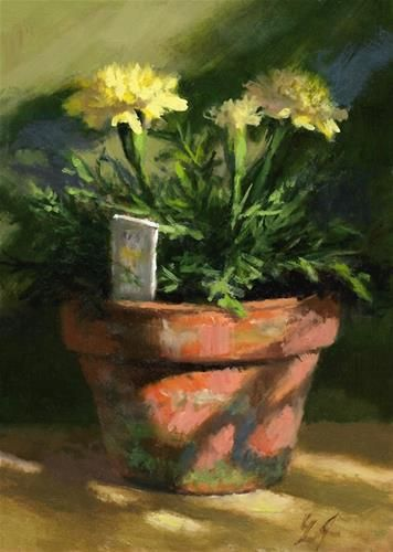 "Daily Paintworks - ""Marigolds in Morning Light"" - Original Fine Art for Sale - © Linda Jacobus"