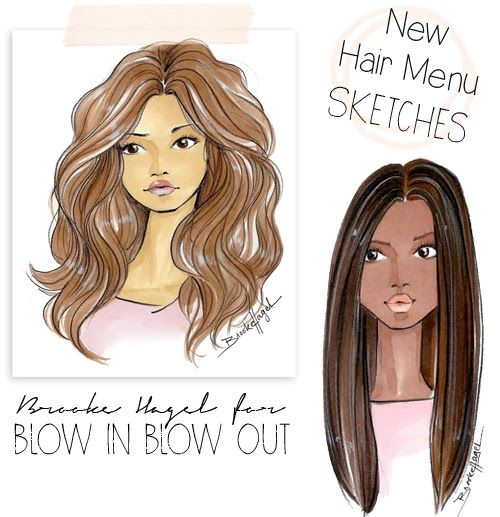 Fabulous Doodles-Fashion Illustration Blog-by Brooke Hagel: Blow Bar Hair Sketches