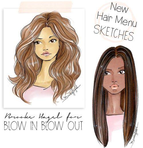 Fabulous Doodles-Fashion Illustration Blog-by Brooke Hagel: Blow Bar Hair Sketches