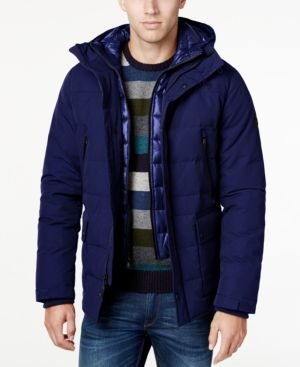 Michael Michael Kors Men's Hooded Puffer Coat with Attached Bib - Blue M