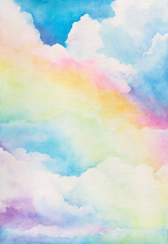 Rainbow Sky Watercolor Art Print Archival Prints Fantasy Cloud