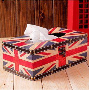 hensych fait main style rétro Motif drapeau Grande-Bretagne Finition Antique en bois + Boîte à Mouchoirs en Cuir Porte Serviette Tube…