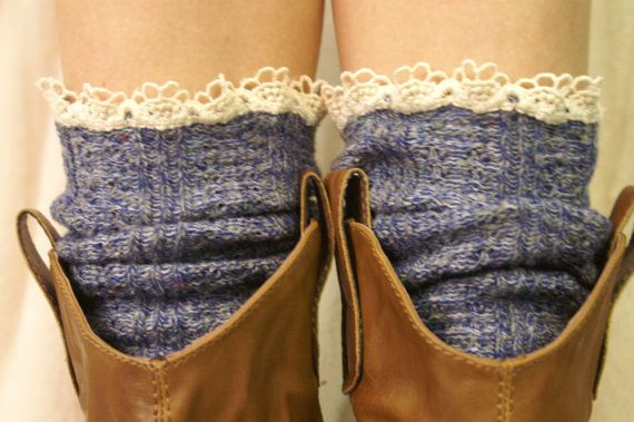 Over cowboy boot lace socks womens denim tweed SLX204L MADE IN USA by Catherine Cole Studio lace boot socks lace ruffled boot socks via Etsy