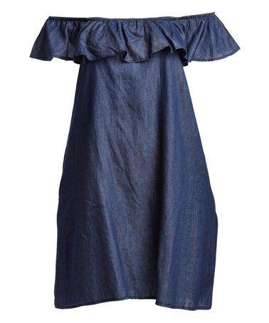 Look at this #zulilyfind! Dark Indigo Ruffle Off-Shoulder Dress - Plus #zulilyfinds