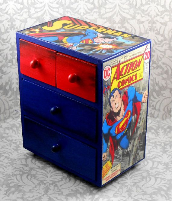 custom superman red and blue stash jewelry box by pzcreations22