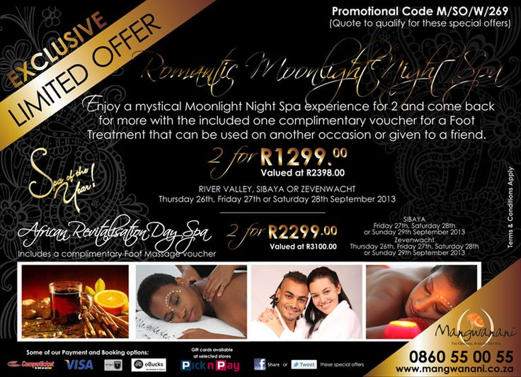 Enjoy a mystical Moonlight Night Spa experience for 2 and come back for more with the included complimentary voucher for a Foot Treatment that can be used on another occasion or given to a friend.