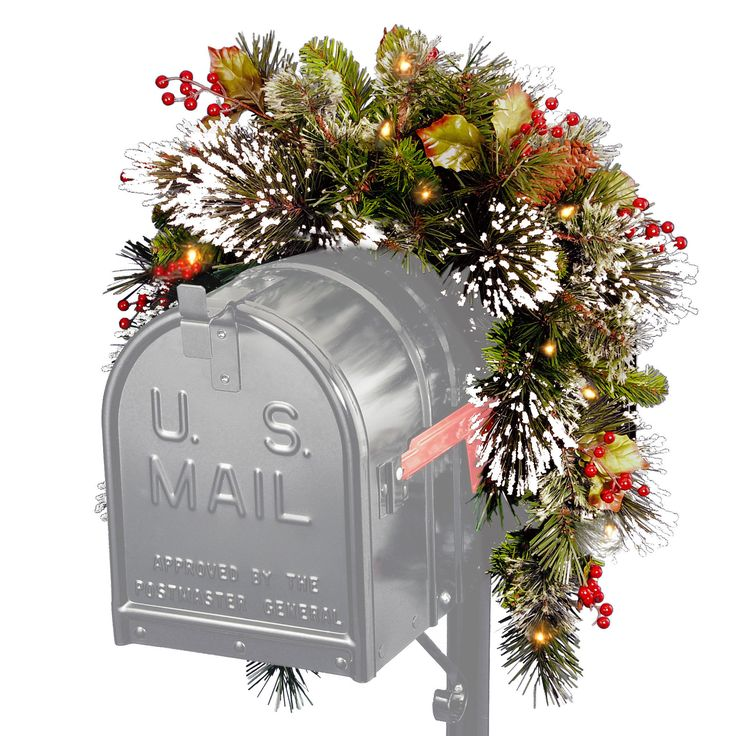 This 3-foot Wintry Pine Collection Mailbox Swag is trimmed with red berries, cones and snowflakes. 15 battery operated soft white LED lights light up your mailbox for a unique and festive look.