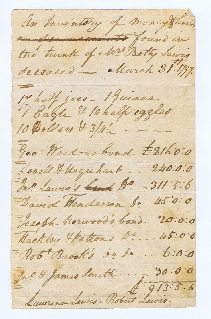 """1-4. Gold Coins – of George Washington's Sister. Manuscript """"Inventory of Money & bonds found in the trunk of Mrs. Betty Lewis deceased Mar. 31, 1797"""" probably Fredericksburg, Va., 4 x 6-1/2, 1-1/4 pp., signed twice each by Lawrence Lewis and Robert Lewis – the sister and nephews, respectively, of George Washington. Listing """"17 half joes, 1 Guinea, 1 Eagle & 10 half eagles, 10 Dollars & 3/4-1/2. Geo. Weedon's bond £216:0:0, Lovell & Urquhart d(itt)o £240:0:0, Jno..."""