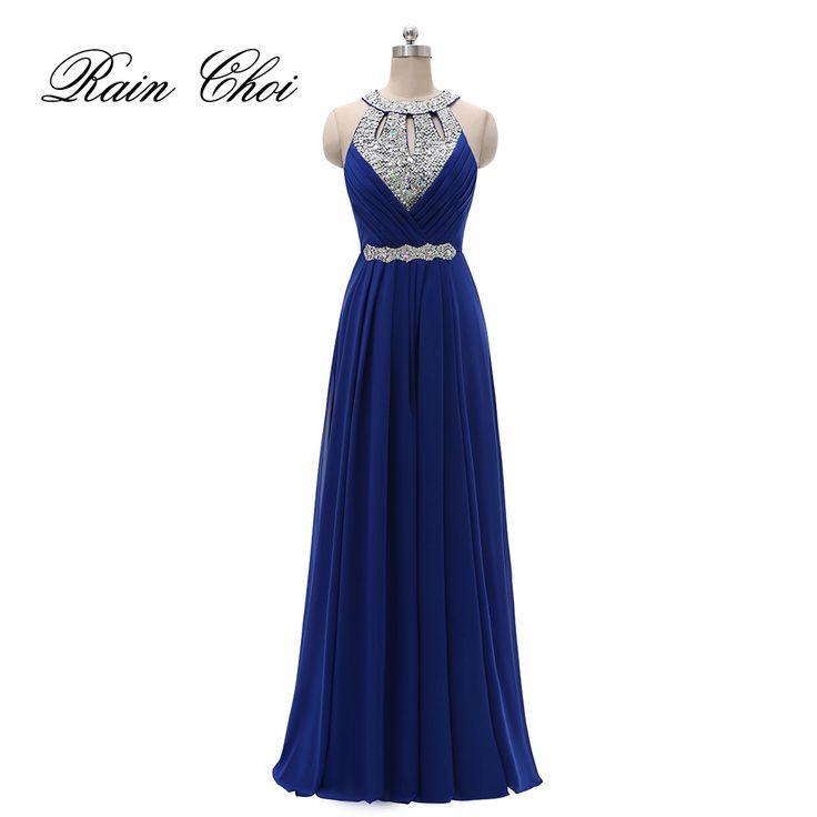 Formal Bridesmaid Dress Women Halter Wedding Party Gown Chiffon Long Bridesmaid Dresses 2018