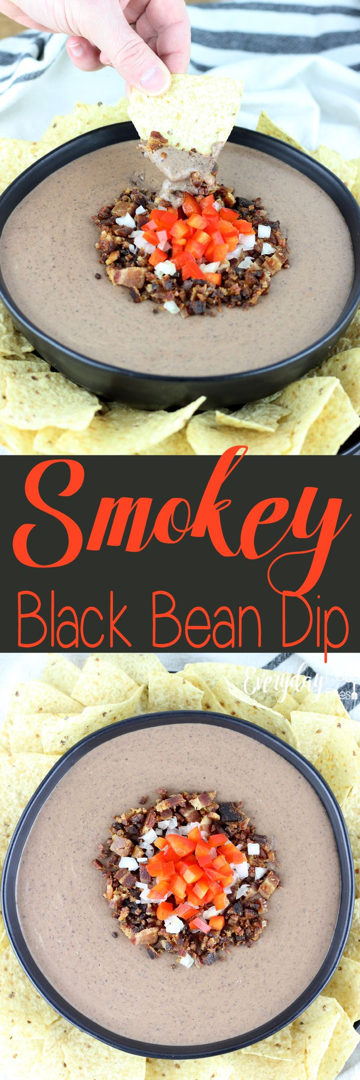This Smokey Black Bean Dip is simple to make, and only requires 10 ingredients! It's creamy, smokey, and spicy, everything you want in a black bean dip! This dip is made for holidays, parties and tailgating.   EverydayMadeFresh.com http://www.everydaymadefresh.com/smokey-black-bean-dip/