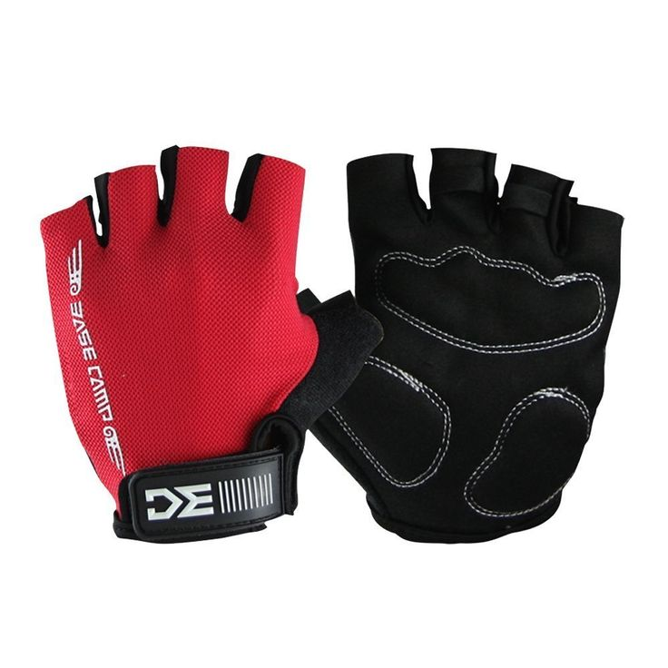 Basecamp Non-slip Cycling Gloves Breathable Shock-proof Road Mountain Lycra Bike Bicycle Sports Half Finger Gloves for Mens Womens (Red   Black, M) * Be sure to check out this awesome product.