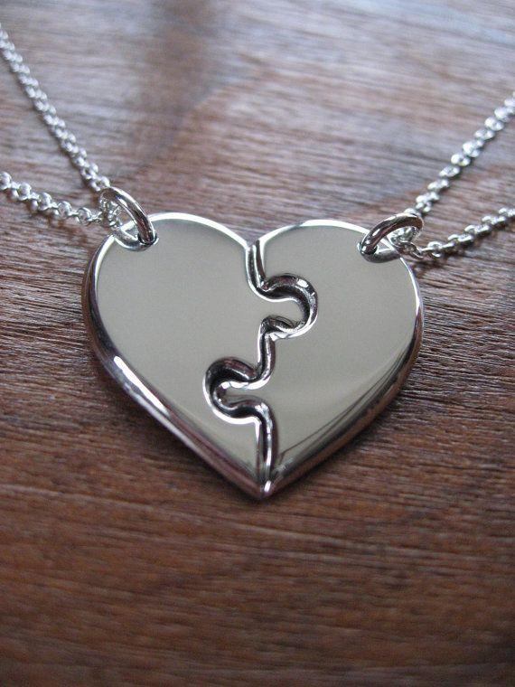 Two Best Friends Heart Pendant Necklaces