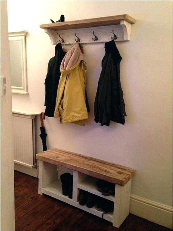 Shoe Rack and Coat Hooks Package Hallway Mudroom Porch Shoe image