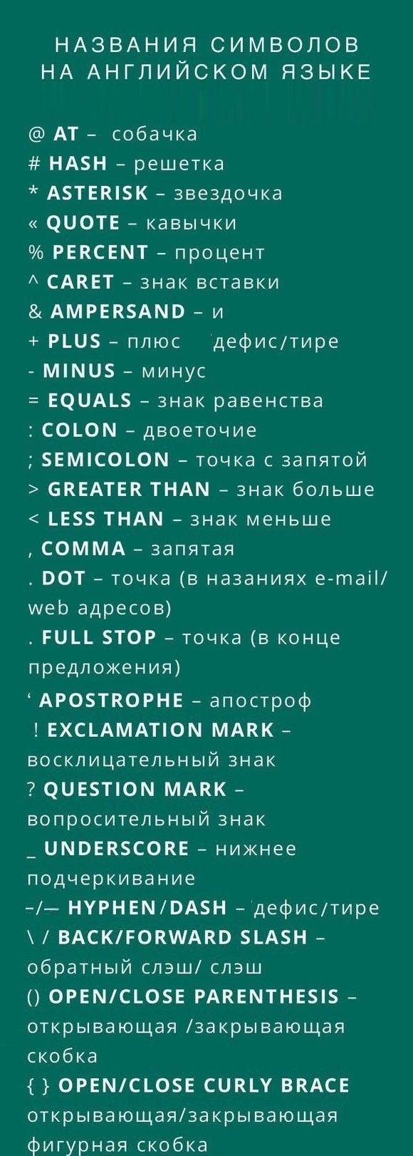 #английскийзнаки препинания. Полная таблица #english #grammar #английский