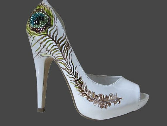 Zapatos de la boda - pluma del pavo real