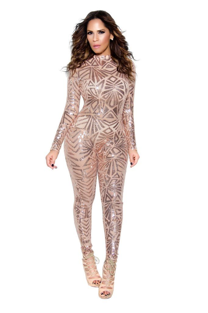 ROSE GOLD SEQUIN HIGH NECK BODYCON JUMPSUIT #sexy #sexyoutfits