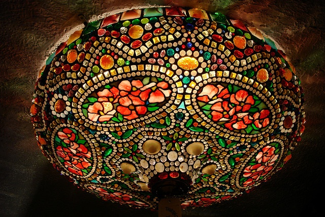 Vintage stained glass lighting fixture