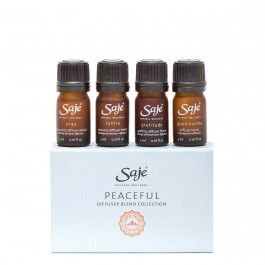 --Peaceful Diffuser Blend Together in a lovely keepsake box with magnetic closure, enjoy our specially-formulated, all-natural, soul-soothing blends, including: - Good Karma, for a sweet sense of good-hearted inspiration - Tantra, for a warm, sensual, romance-inspired ambience - Gratitude, to cultivate feelings of thankfulness and contentment. - Yoga, for a regenerative, soul-nurturing practice.