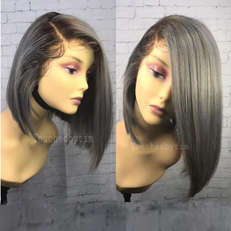 Sexy Grey Bob Human Hair Full Lace Wigs- Touchedbytim015