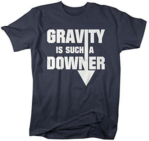 Shirts By Sarah Men's Geek Gravity Downer Funny Physics Science T-Shirt - Navy / XX-Large - 8