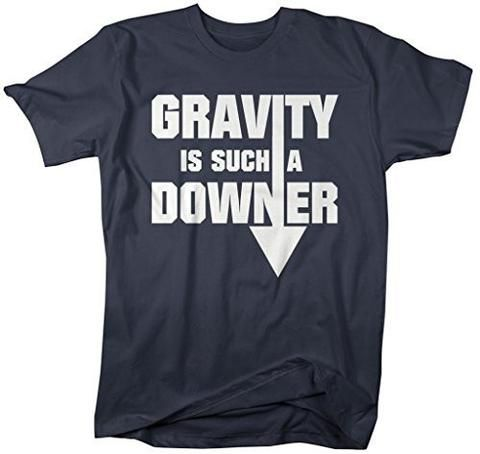 Shirts By Sarah Men's Geek Gravity Downer Funny Physics Science T-Shirt - Navy / XX-Large - 8