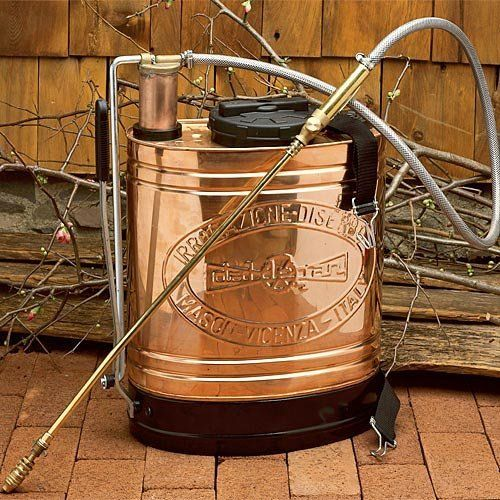 """Italian-Made Copper Backpack Sprayer by Garrett Wade. $197.50. This copper beauty is still familiar in Europe, especially in the wine country near Venice. It has all metal parts. Because it is made of copper (and not plastic, which can leech fluid) you can use a variety of liquids including water, herbicides, deer repellant, insect repellent, """"dormant oil"""", fungicide, and so forth (not for use with cleaning or degreasing solvents). Its curved-back shape and integral canvas harnes..."""