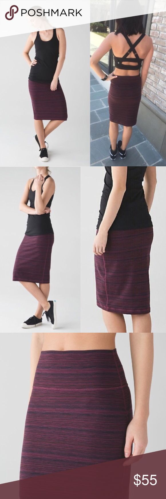 NWT!🍋Lululemon Tube and From Skirt Comfortable, stretchy, figure flattering skirt with hidden pocket in waistband. Color is Cyber Red Grape Bordeaux Drama.  No trades please💋  📦To protect your purchase, I'll record the packaging and shipping of this 📦 lululemon athletica Skirts Midi