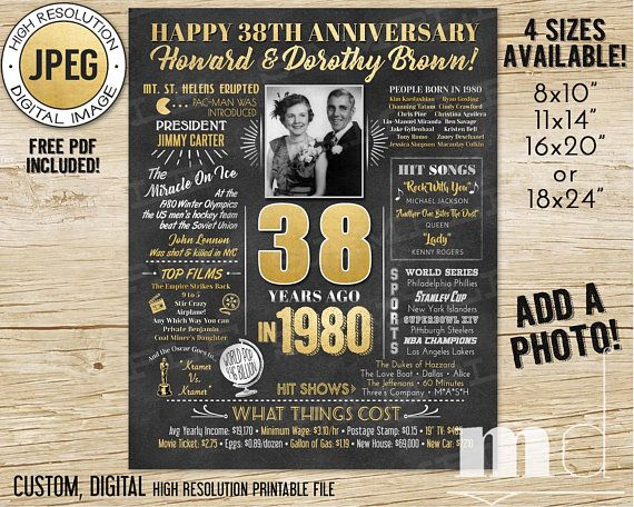 38th Wedding Anniversary, 1980 Anniversary Chalkboard Poster with Photo, Married 38 Years Ago, 1980 Poster Gift Ideas, DIGITAL, PRINTABLE