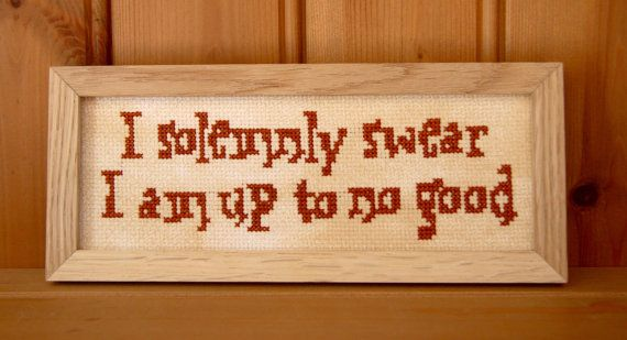I solemnly swear that I am up to no good - 8x3ins door plaque from Harry Potter's Marauders Map password - PDF PATTERN ONLY